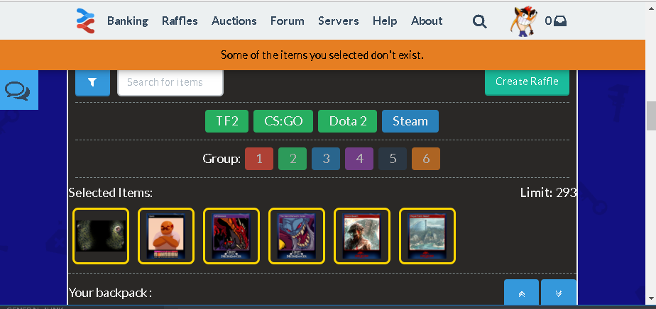 Unable to raffle Steam and TF2 items - Archive - Scrap TF Forums